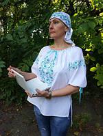 """Вышиванка дизайнерская вышитая блузка из белой х/б ткани с разноцветной машинной вышивкой блузка """"Роса"""""""