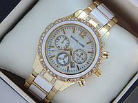 Женские кварцевые наручные часы Michael Kors золото, белые вставки, премиум качество