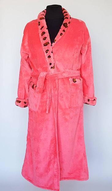 Женский махровый длинный халат с вставкой
