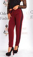 Штаны с лампасами Риа батал Бордовый , женские брюки