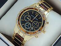 Женские кварцевые наручные часы копия Michael Kors золото, черный вставки под дерево, премиум качество