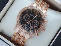 Жіночі наручні годинники Michael Kors рожеве золото з чорним циферблатом, преміум якість, фото 1