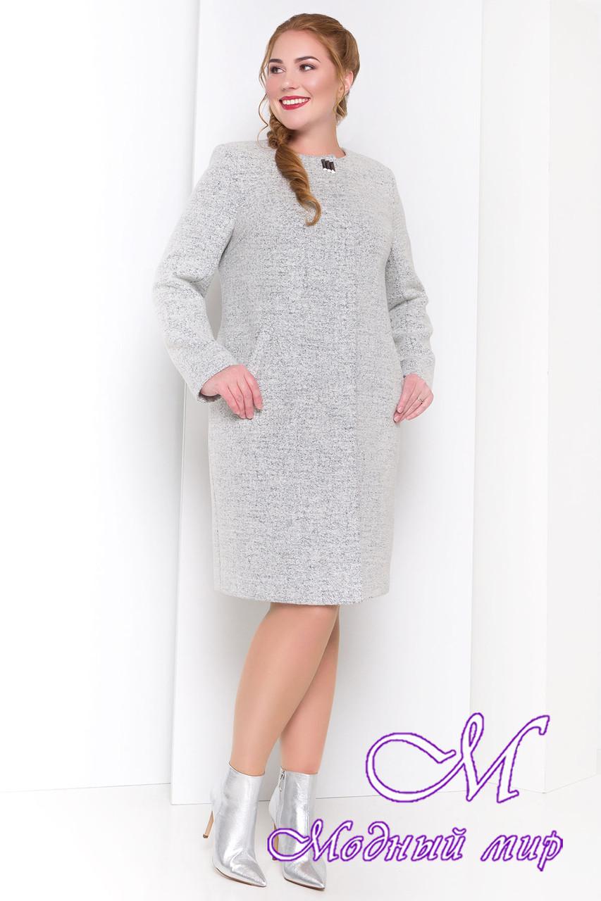 Шерстяное осеннее пальто большого размера (р. XL, XXL, XXXL) арт. Фортуна 3377 - 17325