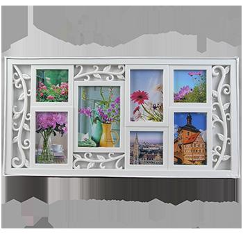 Мультирамка-коллаж с растительным узором на 7 фотографий