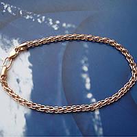Серебряный позолоченный браслет, 210мм, 5,6 грамма, плетение Ручей