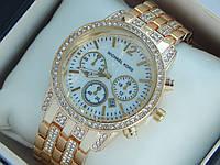 Женские кварцевые наручные часы Michael Kors со стразами на безеле и браслете, фото 1
