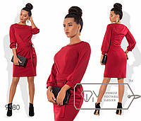 Платье-футляр приталенное из трикотажа мелисса с рукавами 3/4 на манжетах  размер 42,44,46