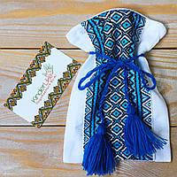 Мішечок для першого локона з широчезною синьою вишивкою, фото 1
