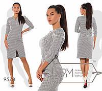 Платье-футляр полуприталенное из стрейч-жаккарда с рукавами 3/4,  размер 42,44,46