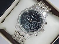 Женские наручные часы Michael Kors серебро с черным циферблатом, премиум качество