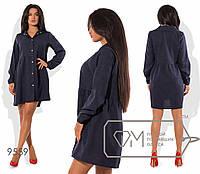 Платье-рубашка асимметричное из льна-габардина с длинными рукавами размер 42,44,46,48