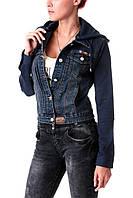 Джинсовая куртка с капюшоном M.Sara (S-3XL синяя) по низким ценам оптом от производителя в одессе 7км