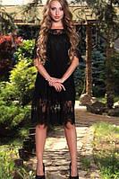 Женское черное красивое платье с гипюром