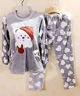 Махровая теплая пижама с модными принтами