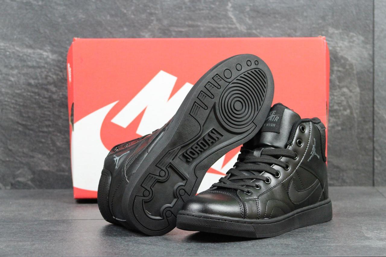 3997df74 Nike Jordan женские кожаные высокие кроссовки черные (Реплика ААА+) ...
