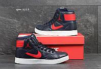 Высокие женские кроссовки Nike Jordan  темно синие с красным