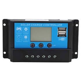 Контроллер 10А 12В/24В с дисплеем + USB гнездо