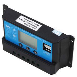 Контроллер 10А 12В/24В с дисплеем + USB гнездо, фото 2