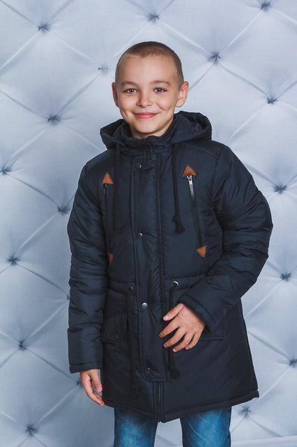 """Зимняя теплая куртка-парка  для мальчика, подростка """"Никитосик""""  темно-синяя"""