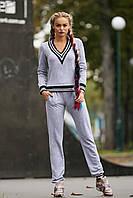 Женский спортивный костюм, светло-серый, двунитка,  размер 44, 46, 48