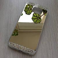 Зеркальный золотой силиконовый чехол с стразами для Samsung S6 G920F