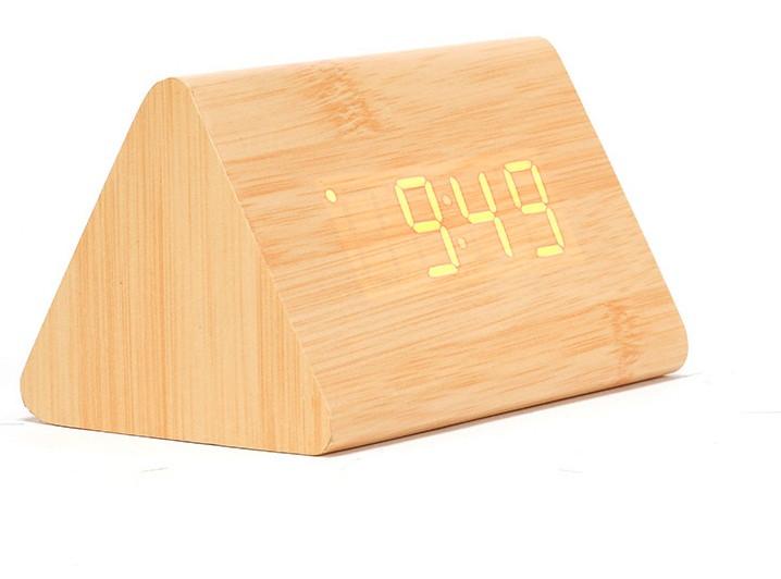 "Часы будильник термометр под дерево ""Брусок"", Пирамида"