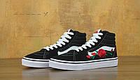 Кеды женские Vans Sk8-Hi Roses Black/White