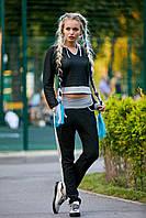 Женский спортивный чёрный костюм, с капюшоном, двунитка,  размер 44, 46, 48