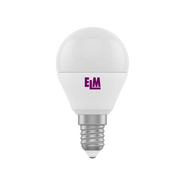 18-0014 LED лампа ELM шар 6W E14 4000K D45
