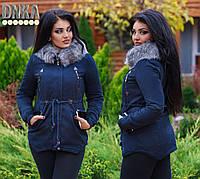 Тёплая женская куртка-парка на меху 069
