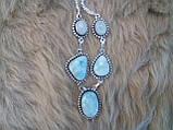 Ожерелье с ларимаром и лунным камнем в серебре., фото 4