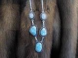 Ожерелье с ларимаром и лунным камнем в серебре., фото 5