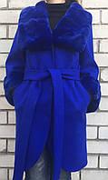 Кашемировое пальто с мехом рекса электрик