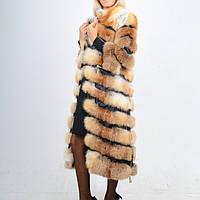 Шуба-жилетка-полушубок из натурального меха лисы