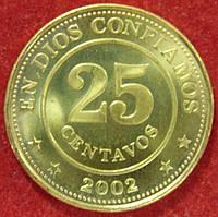 Монета Никарагуа. 25 сентаво 2002 г.