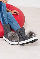 Женские ботинки-полусапожки верх войлок обувной/мех натуральный весна-осень/зима серые 0038КОМ