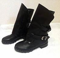 Женские ботинки-полусапожки верх кожаный весна-осень/зима черные 0041КОМ