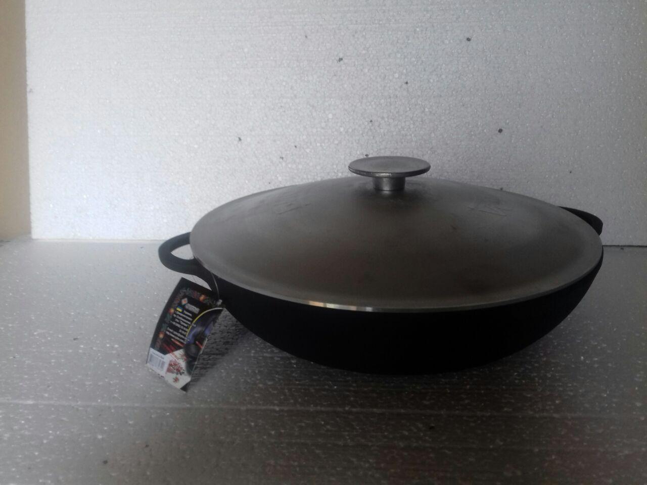 Сковорода чугунная (жаровня), d=360 мм, h=80 мм с алюминиевой крышкой