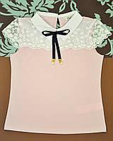 Розовая блузочка с кокетливым кружевом