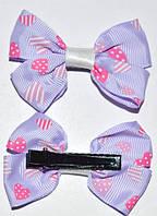 Заколка уточка, ткань, бантик, светло-сиреневый в розовых сердечках (2 шт) 11_9_32а40
