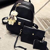 Набор женский - рюкзак с бантиком, сумочка, визитница, брелок мишка (черный)