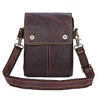 "Мужская сумка ""Cross Body-3X brown"" из натуральной кожи"