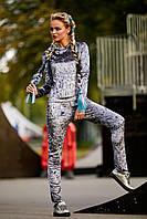 Женский спортивный костюм из велюра,серый,  размер 44, 46, 48