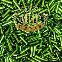 Стеклярус, цвет Green, длинна 6мм, цена за 10гр