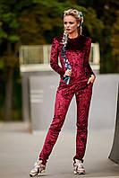 Женский спортивный костюм из велюра,бордовый,  размер 44, 46, 48