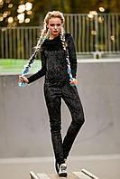 Женский спортивный костюм из велюра,чёрный,  размер 44, 46, 48