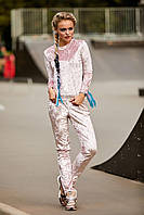 Женский спортивный костюм из велюра,пудра,  размер 44, 46, 48