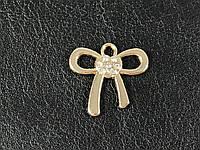 Пришивная металлическая эмблема бантик