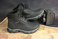 Детские подростковые зимние ботинки Ecco, толстая кожа качественно сделаны 35-39