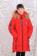 Зимняя куртка для девочки «Ника»,красный